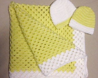 Crochet Baby Blanket With Hats Set of Two For Newborns