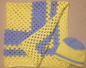 Crochet Baby Blanket With Hat For 0-6 Months