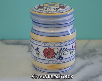 b02a4104f34 Vintage Hand Painted Floral Canister