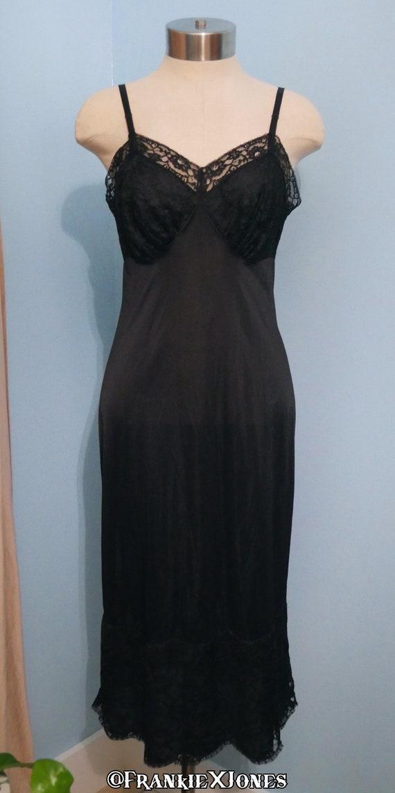 1950's Vanity Fair Black Lace Slip