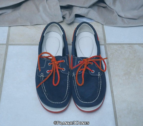 Timberland Blue Suede Boat Shoes w/ Orange Accents
