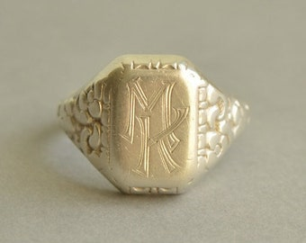 Antique 830 Silver MK Initials Signet Ring Size 11.5