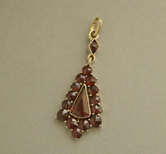 Antique Victorian Bohemian Garnet Dangle Pendant,