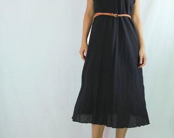 SALE - Classy Women Loose A shape Dress /  Knee Length Black Dress / Black Summer Dress / Black Cotton Dress - SD014