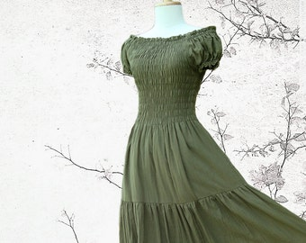 Romantic Summer Party Off the shoulder Maxi Dress in Olive Army Green - SS LD004