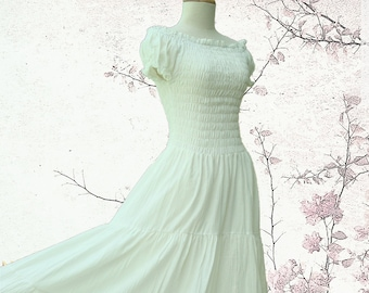Off White Ivory Maxi Dress - Off The Shoulder Maxi Dress / Long Cotton Dress / 'Sweet Summer Tiered Smocked Maxi Dress - SS LD004