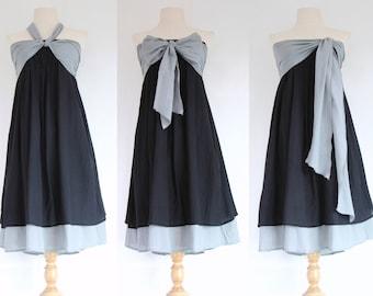 Black Bridesmaid Dress / Black Strapless Dress / Prom Dress / Black Cotton Dress / Black Sundress / Black Summer Dress - SD007