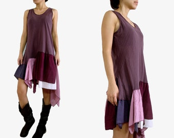 Babydoll Dress / Women patchwork Dress / Lavender Purple Pixie dress - Summer Layer tunic mini dress / Summer Spring Fashion - SF SD008