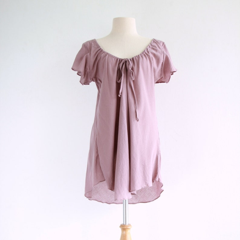 Women Romantic Pink Flowy Cotton Peasant Blouse TOP015