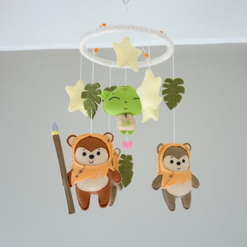 Star Wars Felt Baby Crib Mobile Ewok Yoda Nursery image 0