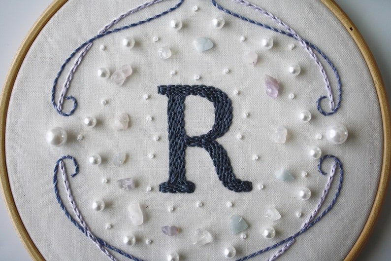 Custom Family Initial Pearls Stone Beads Mixed Media Hand Embroidery Wall Art Custom Colors