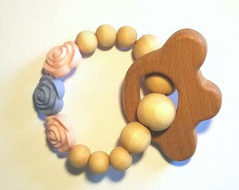Flowers Wooden and Silicone Baby Teether Toy