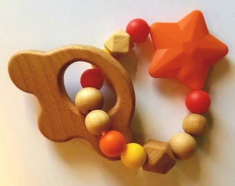 Wooden and Silicone Baby Teether Toy