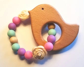 Wooden and Silicone Baby Bird and Flowers Teether Toy