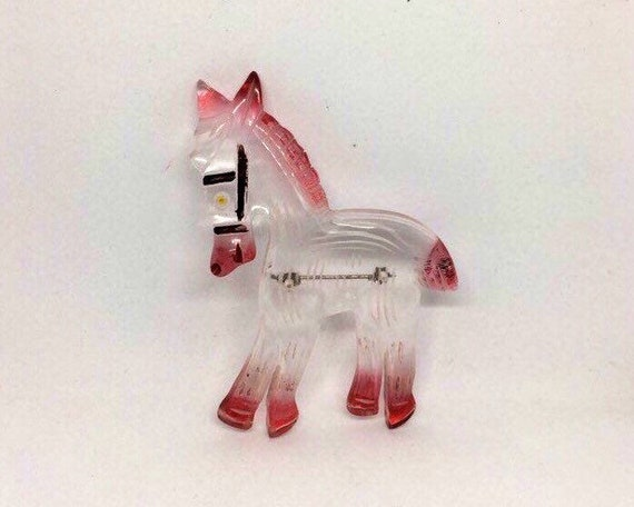 Large Carved lucite donkey brooch