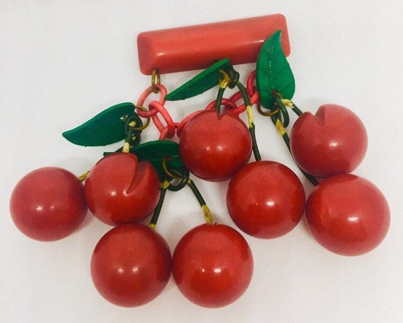 Genuine vintage Bakelite cherries brooch