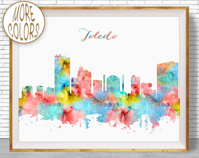Toledo Ohio Toledo Print Toledo Skyline City Wall Art Office Decor City Skyline Prints Office Poster ArtPrintZone