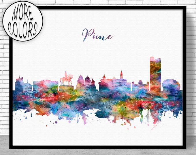 Pune Print, Pune Skyline, Pune India, Office Decor, Office Art, Watercolor Skyline, Watercolor City Prints, ArtPrintZone