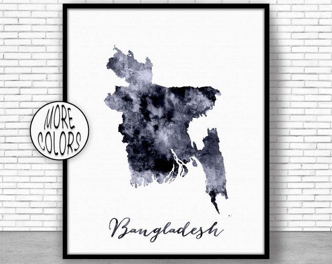 Bangladesh Print Bangladesh Art Print Watercolor Print Bangladesh Map Decor Wall Art Prints ArtPrintZone