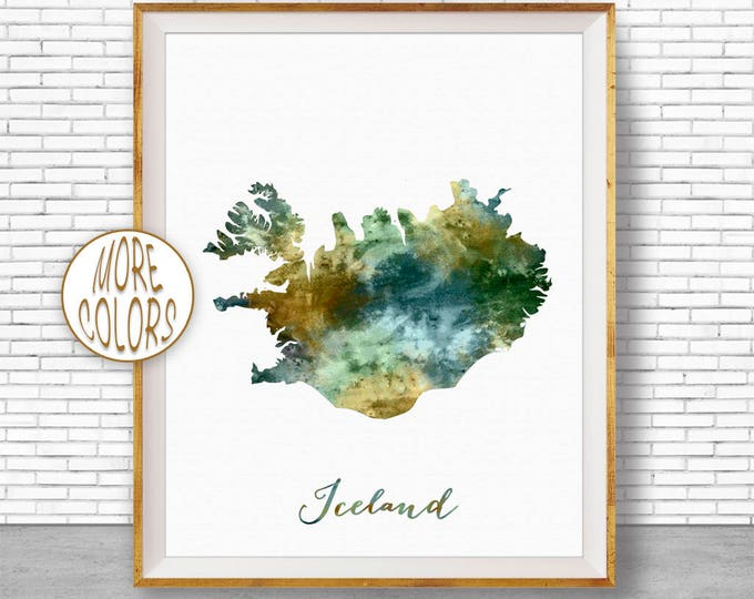 Iceland Map Art Iceland Print Watercolor Map Map Painting Map Artwork  Office Decorations Country Map ArtPrintZone