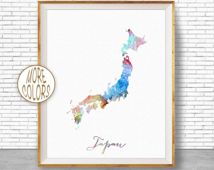 Japan Map Art Japan Print Watercolor Map Map Painting Map Artwork  Office Decorations Country Map ArtPrintZone