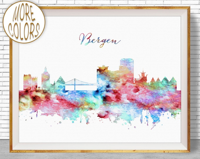 Bergen Skyline, Bergen Print, Bergen Norway, Office Decor, Office Art, Watercolor Skyline, Watercolor City Prints, ArtPrintZone