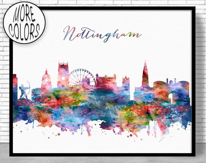 Nottingham Print, Nottingham Skyline, Nottingham United Kingdom, Office Art, Watercolor Skyline, Watercolor City Print, ArtPrintZone