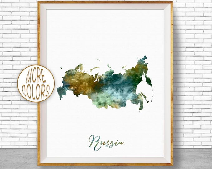 Russia Map Art Russia Print Watercolor Map Map Painting Map Artwork  Office Decorations Country Map ArtPrintZone
