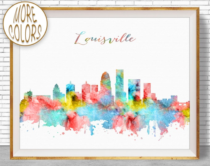 Louisville Art Print Louisville Skyline Louisville Kentucky Office Wall Art City Skyline Prints Skyline Art ArtPrintZone