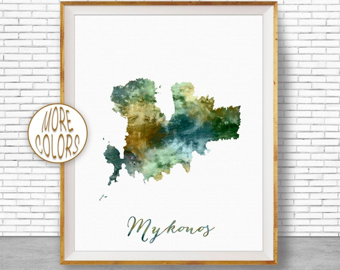 Mykonos Print, Mykonos Map Art, Greek Islands, Mykonos Greece Watercolor Map Map Painting Office Decorations Country Map ArtPrintZone