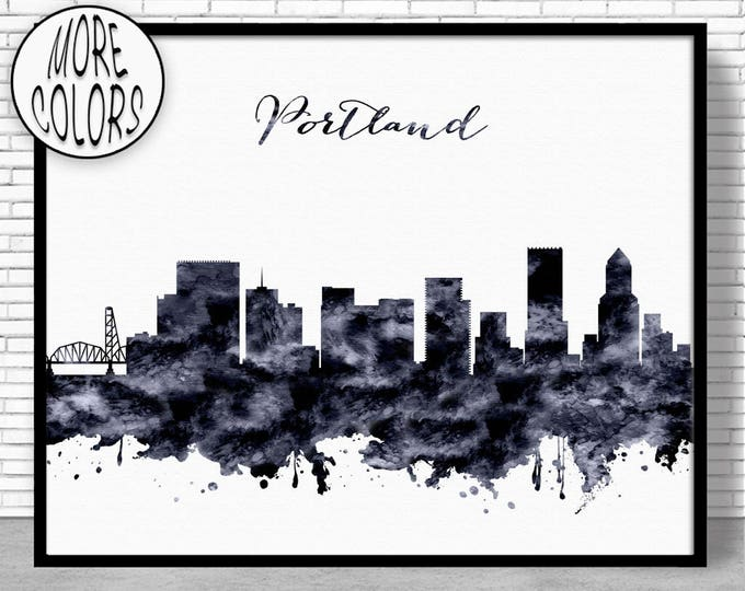 Portland Print Portland Skyline Portland Oregon Office Decor City Skyline Prints Skyline Art ArtPrintZone