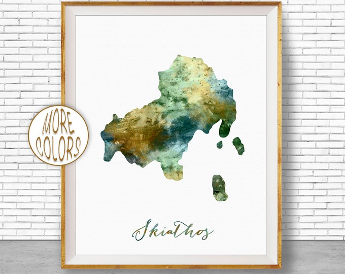 Skiathos Print, Skiathos Map Art, Greek Islands, Skiathos Greece Watercolor Map Map Painting Office Decorations Country Map ArtPrintZone