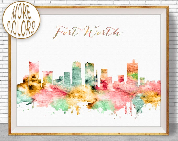 Fort Worth Texas Fort Worth Art Print Fort Worth Skyline Office Poster Office Art Watercolor Skyline Watercolor City Print ArtPrintZone