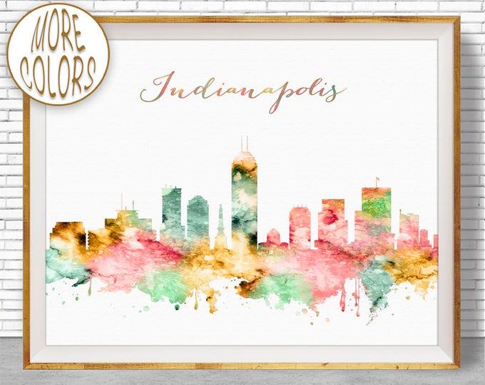 Indianapolis Print Indianapolis Skyline Indianapolis Art Indianapolis Indiana Office Decor City Wall Art Watercolor Skyline ArtPrintZone