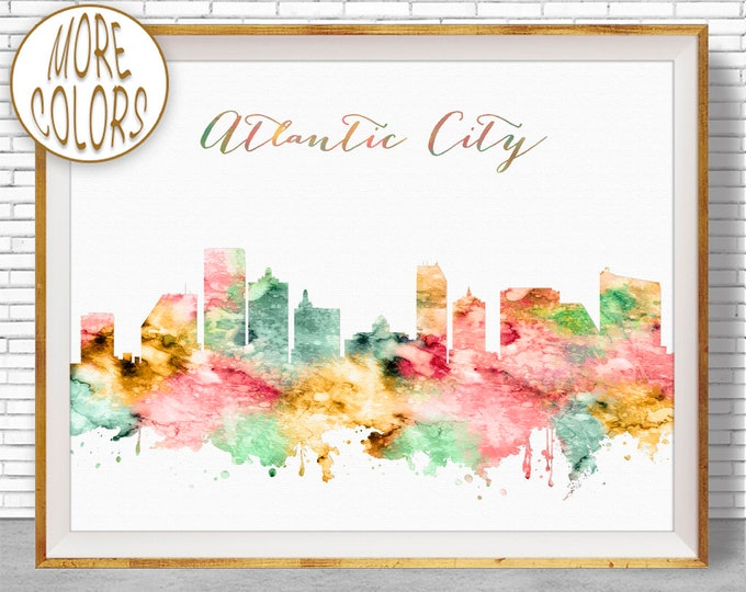 Atlantic City Art Atlantic City Skyline New Jersey Office Decor Office Art Watercolor Skyline Watercolor City Print ArtPrintZone