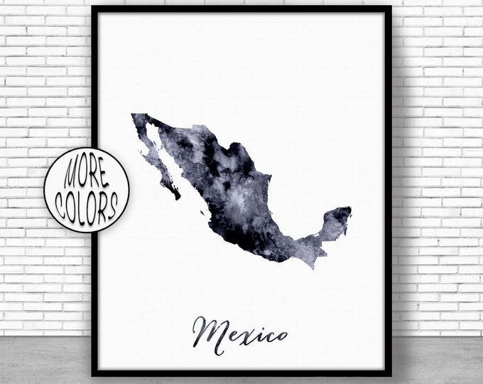 Mexico Print Office Art Print Watercolor Map Mexico Map Print Map Art Map Artwork Office Decorations Country Map ArtPrintZone