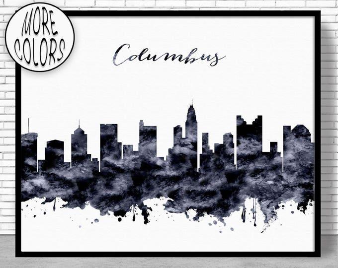Columbus Print Columbus Skyline Columbus Ohio Office Decor Office Art Travel Art Watercolor City Print ArtPrintZone Christmas Gifts