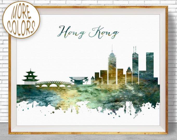 Hong Kong Print, Hong Kong Skyline, Hong Kong China, Office Decor, Office Wall Art, Watercolor Skyline, Watercolor City Print, ArtPrintZone