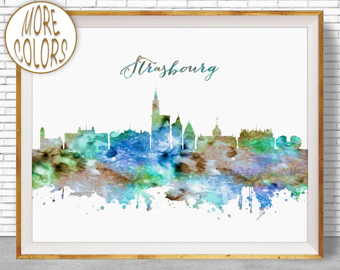 Strasbourg France Strasbourg Print Strasbourg Skyline Poster Art Print Paris Wall Art Office Poster ArtPrintZoneGift for Women