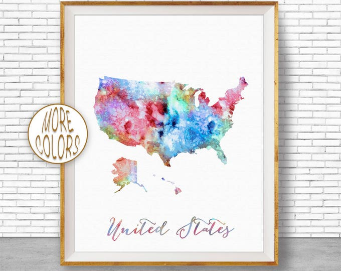 Map of USA Map Art Print United States Map USA Decor Office Print Map Print Map Poster Watercolor Map Office Poster Office Art ArtPrintZone