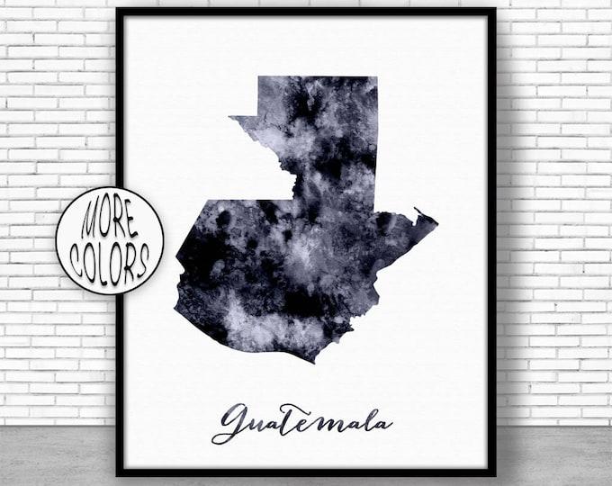Guatemala Print Office Art Print Watercolor Map Guatemala Map Print Map Art Map Artwork Office Decorations Country Map ArtPrintZone