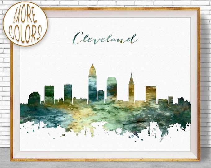 Cleveland Skyline Cleveland Print Cleveland Ohio City Scape Office Art Watercolor Skyline Watercolor City Print ArtPrintZoneGift for Women