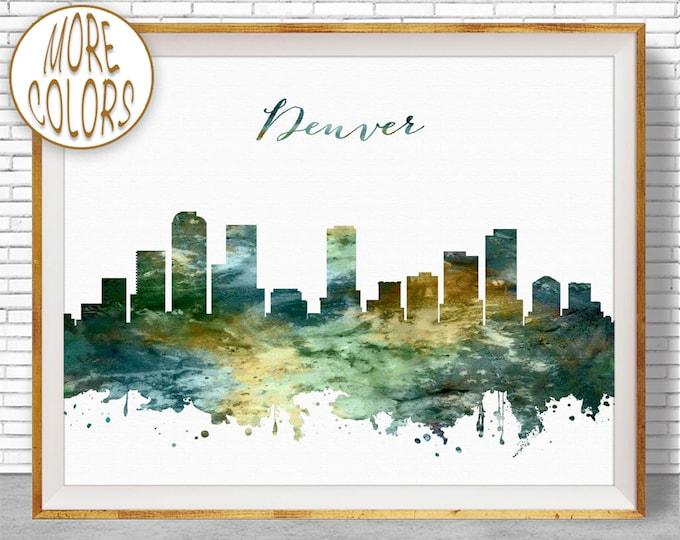 Denver Print Denver Skyline Denver Colorado Office Prints Office Gifts Watercolor Skyline Watercolor City Print ArtPrintZone
