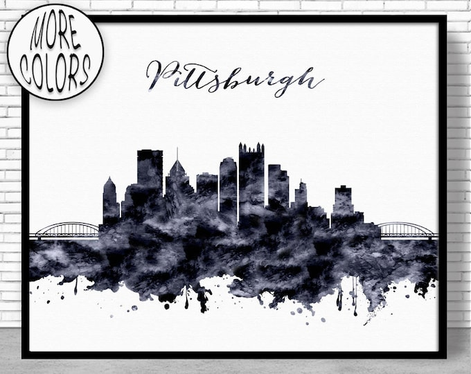 Pittsburgh Print Pittsburgh Skyline Pittsburgh Pennsylvania Office Decor City Skyline Prints Skyline Art ArtPrintZone