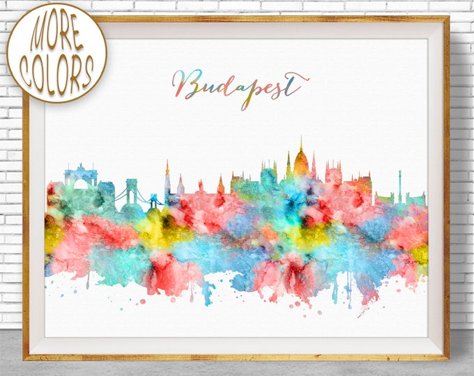 Budapest Print, Budapest Hungary, Budapest Skyline, Office Decor, Office Art, Watercolor Skyline, Watercolor City Prints, ArtPrintZone