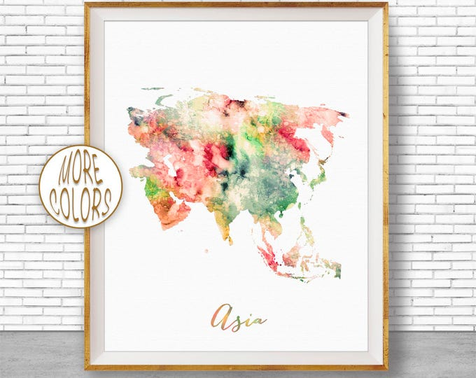 Asia Map Asia Print  Map of Asia Asia ContinentMap Wall Art Print Travel Map Travel Decor Office Decor Office Wall ArtGift for Women