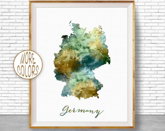 Germany Map Art Germany Print Deutschland Art Watercolor Map Map Painting  Office Decorations Country Map ArtPrintZone