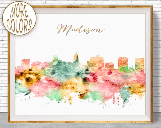 Madison Art Madison Wisconsin Madison Skyline Madison Print Office Art City Skyline Prints Skyline Art ArtPrintZone