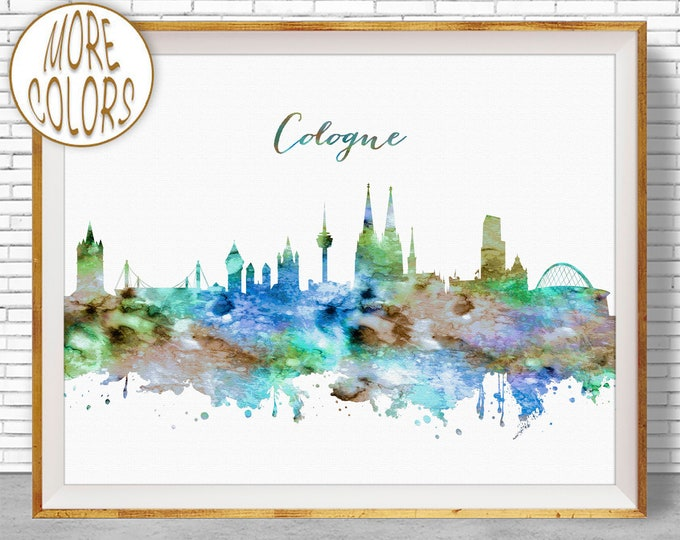 Cologne Print, Cologne Skyline, Cologne Germany, Office Decor, Office Art, Watercolor Skyline, Watercolor City Print, ArtPrintZone