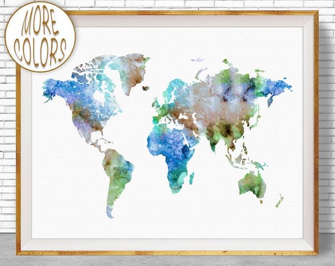 World Map Poster World Map Wall Art Print World Map Print Travel Art Prints World Print Office Prints Office Art Travel Poster ArtPrintZone